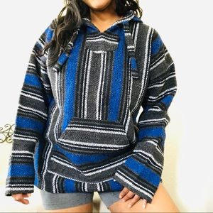 Blue Colorful Hippie Baja Drug Rug Sweater XL